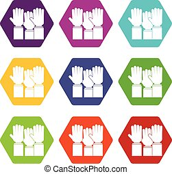 Different people hands raised up icon set color hexahedron