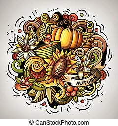 Cartoon doodles Autumn illustration. All items are separate....