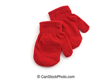 Red mittens isolated on white background with copy space