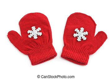 Red mittens with silver snowflakes isolated on white...