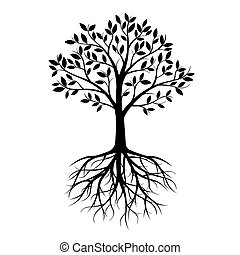 Big Black Tree with Roots. Vector Illustration.