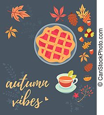 Autumn vibes desserts greeting card - Autumn vibes greeting...