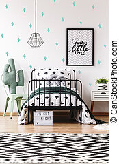 Kids room with geometric carpet - Toy shape in cactus on...