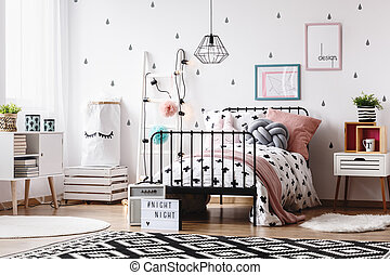 Kids room with white ladder - Black and white geometric...