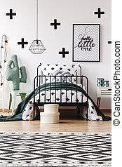 Geometric carpet in kids room - Black and white geometric...