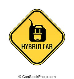 Hybrid car caution sticker. Save energy automobile warning sign. Electric plug on fuel canister icon in yellow rhombus.