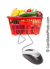 Online shopping - Grocery basket with Computer Mouse,...