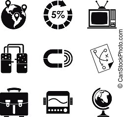 Fiscal icons set, simple style - Fiscal icons set. Simple...