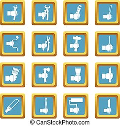 Hand tool icons azure - Hand tool icons set in azur color...