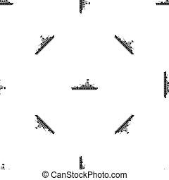 Military warship pattern seamless black - Military warship...