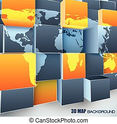 Abstract 3d Background With World Map