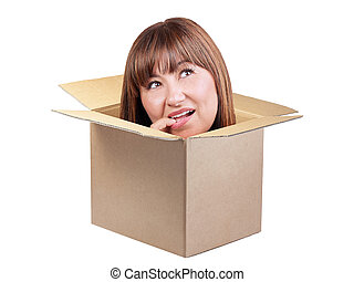 Brunette woman thinking out box isolated
