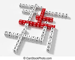 Crossword puzzle with HRM keywords human resource management...