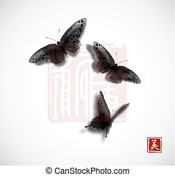 Big butterfly hand drawn with ink on white background. Traditional oriental ink painting sumi-e, u-sin, go-hua. Contains hieroglyph - beauty.