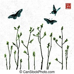 Big butterflies and tree branches with fresh leaves on white background. Traditional oriental ink painting sumi-e, u-sin, go-hua. Contains hieroglyph - beauty