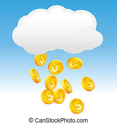 Raining gold coins - Vector illustration with a cloud...
