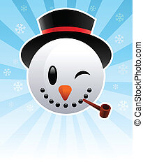 Snow Man - Vector snowman Christmas card