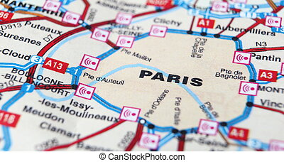 Paris as a travel destination on a map