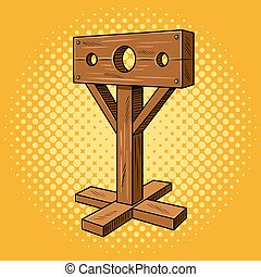 Stocks medieval instrument torture pop art vector