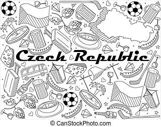 Czech Republic line art design vector illustration - Czech...