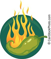 hot jalapeno or chili peppers - Vector illustration of a hot...