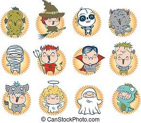 Cute Halloween monsters.