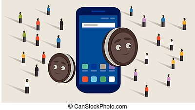 new version of mobile operating system smart- phone and cookies together crowd buy food online