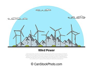 wind energy concept - picture of wind turbines with...