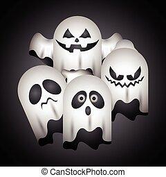 Set of halloween ghosts