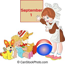 Illustration (September 1), girl schoolgirl first class, parting with toys, cartoon on white background.