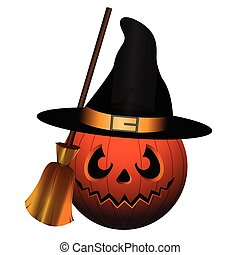 Isolated halloween icon - Isolated witch pumpkin on a white...