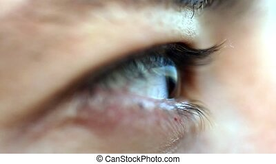 Macro shot of male human brown eye blinking. 1920x1080 -...