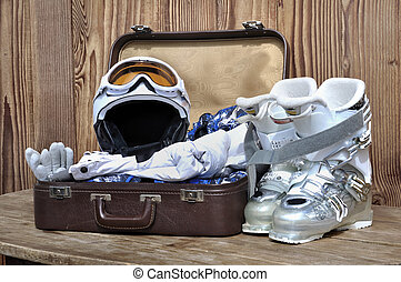suitcase for winter sports - suitcase with winter sports...