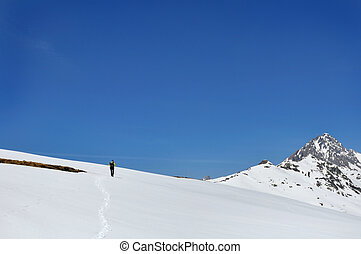 ide on the snowy mountain - snowy mountain landscape under a...