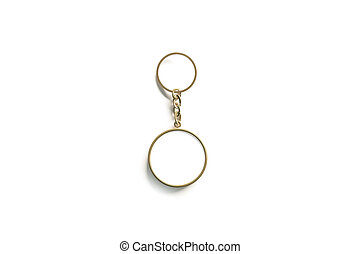 Blank gold round white key chain mock up isometric view, 3d...