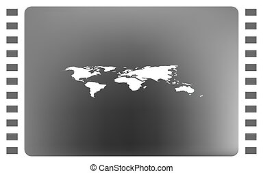 World Map With Pin Vector Illustration