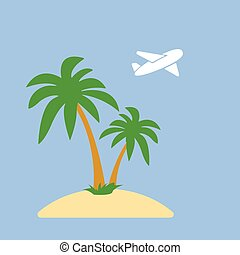 Stylized icon palm trees on an island in the ocean and a flying plane on background