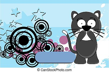 funny little chubby cat cartoon expression background6