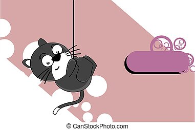 funny little chubby cat cartoon expression background9