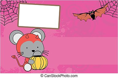 cute baby mouse cartoon halloween costume background in...