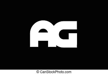 AG A G black white bold joint letter logo - AG A G letter...