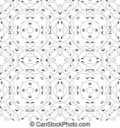 Caligraphic Lines. Black and white vector seamless pattern