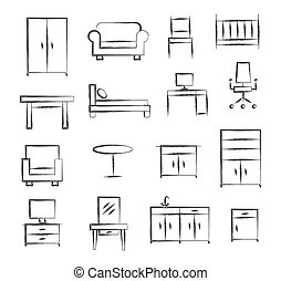 Furniture doodle icons on white