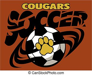 cougars soccer team design with large paw print inside ball...