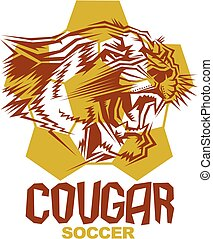 cougar soccer team design with mascot head inside ball for...