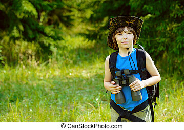 brave boy scout - Ten year old boy go hiking with backpack...