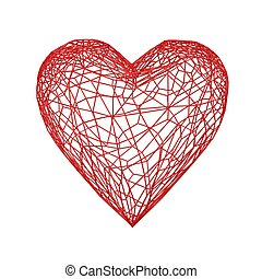 red heart vessel isolated on white background