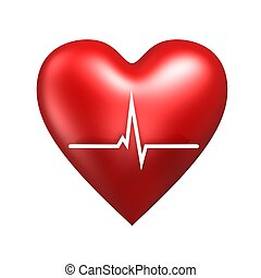 heart with cardiogram - red heart with cardiogram isolated...