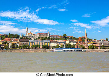Budapest and river Danube - View of Budapest with the river...