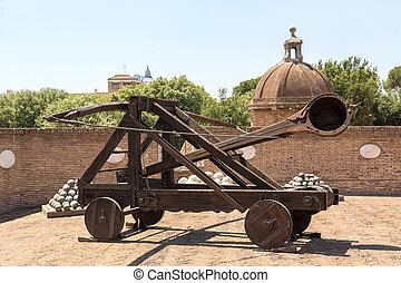 Old roman catapult in Rome - Old roman catapult in Castle...